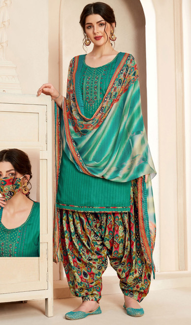 Jam Cotton Printed With Embroidered Patiala Suit in Green Color