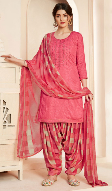 Jam Cotton Printed With Embroidered Patiala Suit in Pink Color