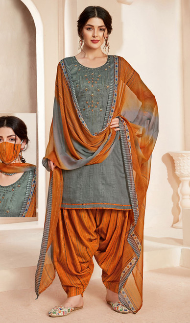 Jam Cotton Printed With Embroidered Patiala Suit in Gray Color