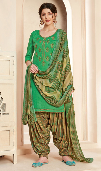 Jam Cotton Printed With Embroidered Patiala Suit in Mehendi Green Color