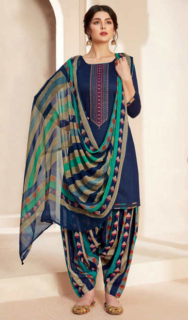 Jam Cotton Printed With Embroidered Patiala Suit in Navy Blue Color
