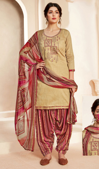 Jam Cotton Printed With Embroidered Patiala Suit in Beige Color