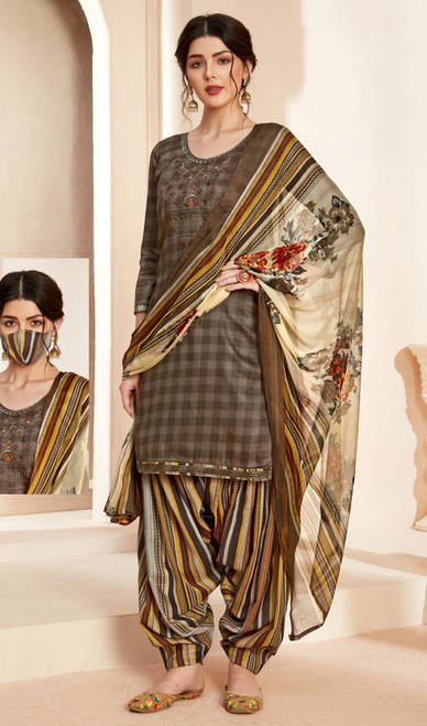 Jam Cotton Printed With Embroidered Patiala Suit in Multicolor
