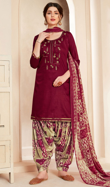 Jam Cotton Printed With Embroidered Patiala Suit in Maroon Color