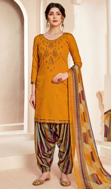 Jam Cotton Printed With Embroidered Patiala Suit in Mustard Color