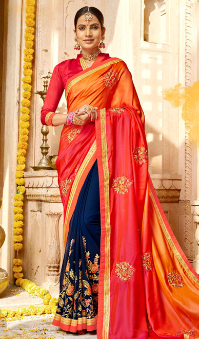 Georgette Multicolor Embroidered Sari