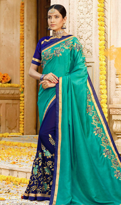 Green and Blue Color Georgette Embroidered Sari