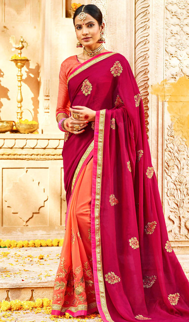 Rani Pink and Peach Color Georgette Embroidered Sari