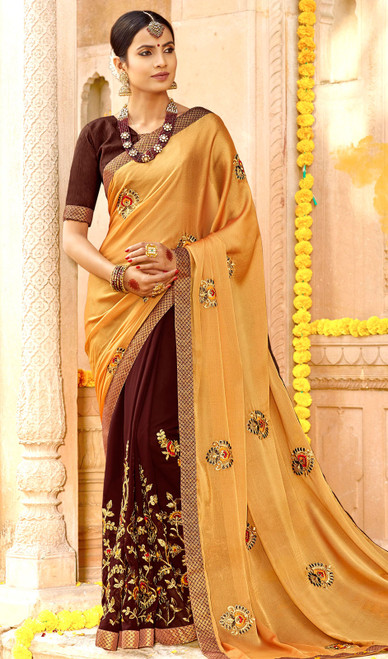 Golden and Dark Brown Color Georgette Embroidered Sari