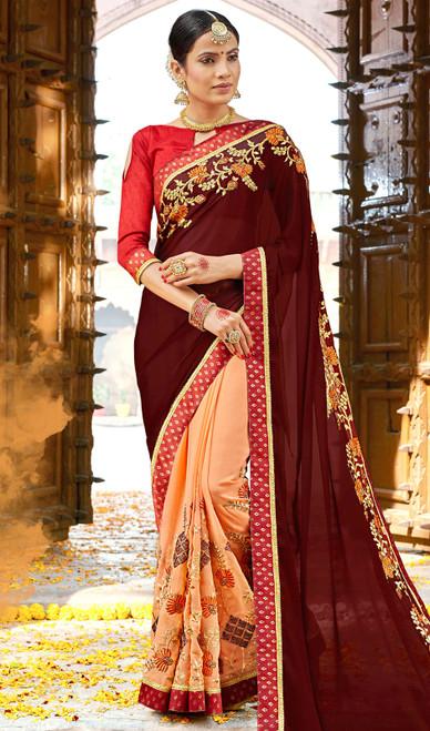 Dark Brown and Peach Color Georgette Embroidered Sari
