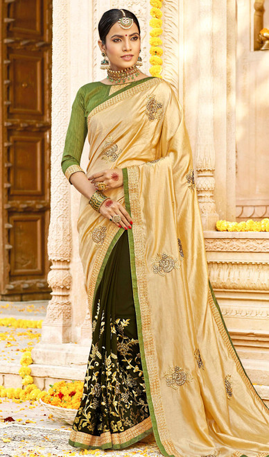 Cream and Mehendi Green Color Georgette Embroidered Sari