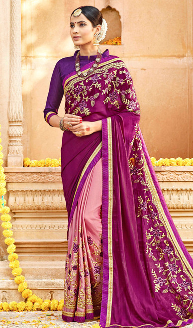 Light Pink and Purple Color Georgette Embroidered Sari