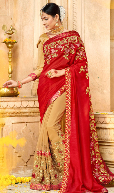 Red and Beige Color Georgette Embroidered Sari