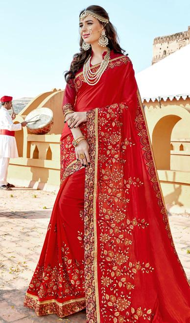 Red Color Rangoli Embroidered Sari