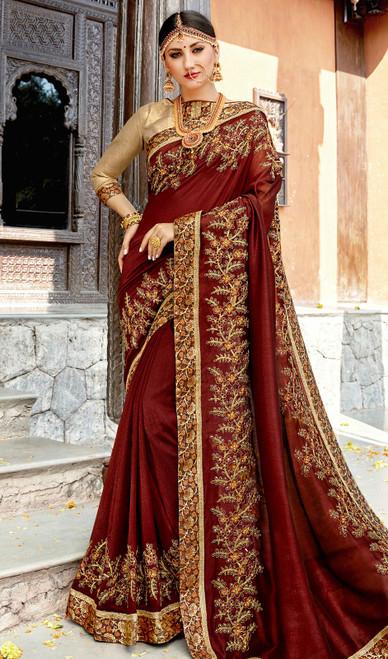 Maroon Color Rangoli Embroidered Sari