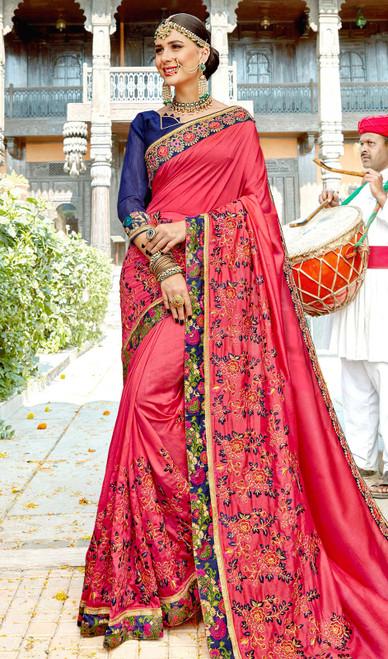 Dusty Pink Color Rangoli Embroidered Sari