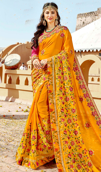 Yellow Color Rangoli Embroidered Sari