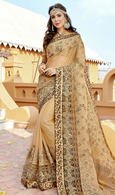 Beige Color Rangoli Embroidered Sari