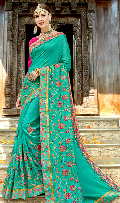 Green Color Rangoli Embroidered Sari