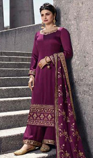 Prachi Desai Satin Georgette Embroidered Palazzo Suit in Purple Color