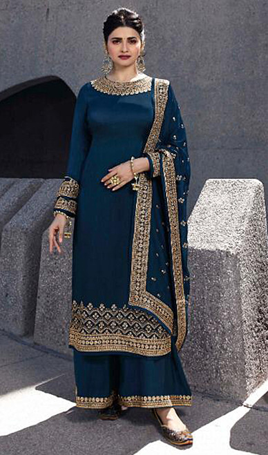 Prachi Desai Satin Georgette Embroidered Palazzo Suit in Teal Blue Color