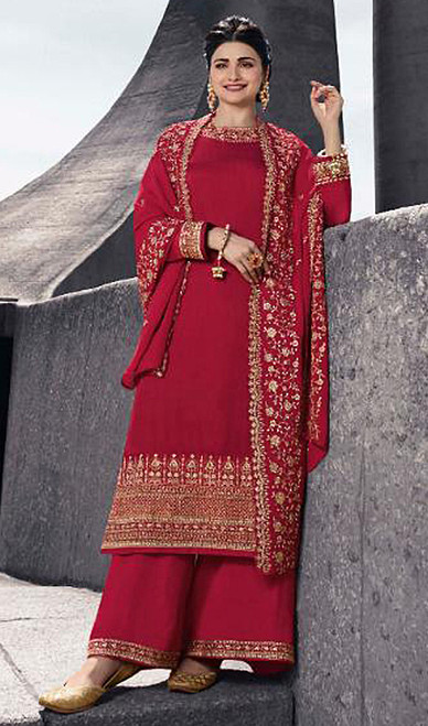 Prachi Desai Satin Georgette Embroidered Palazzo Suit in Red Color