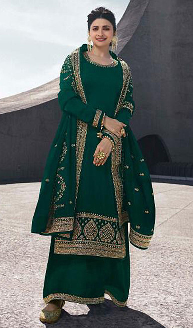 Prachi Desai Satin Georgette Embroidered Palazzo Suit in Dark Green Color