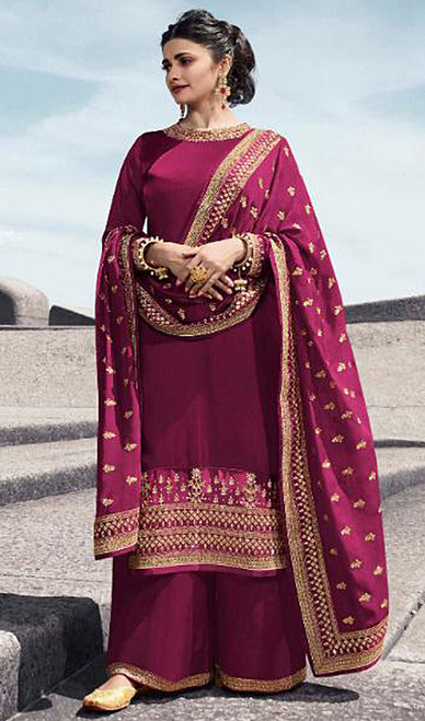 Prachi Desai Satin Georgette Embroidered Palazzo Suit in Pink Color