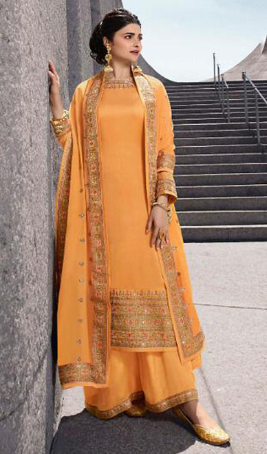Prachi Desai Satin Georgette Embroidered Palazzo Suit in Yellow Color