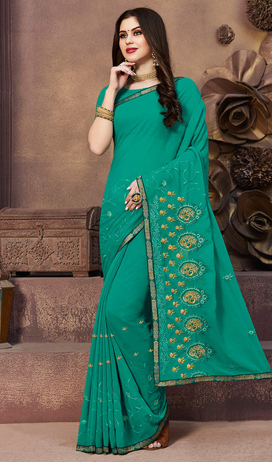 Georgette Sea Green Color Embroidered Sari
