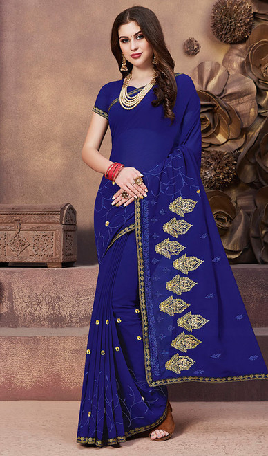 Georgette Royal Blue Color Embroidered Sari