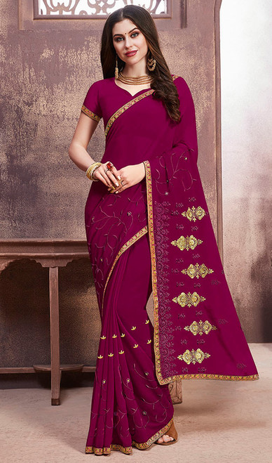 Magenta Pink Color Georgette Embroidered Sari