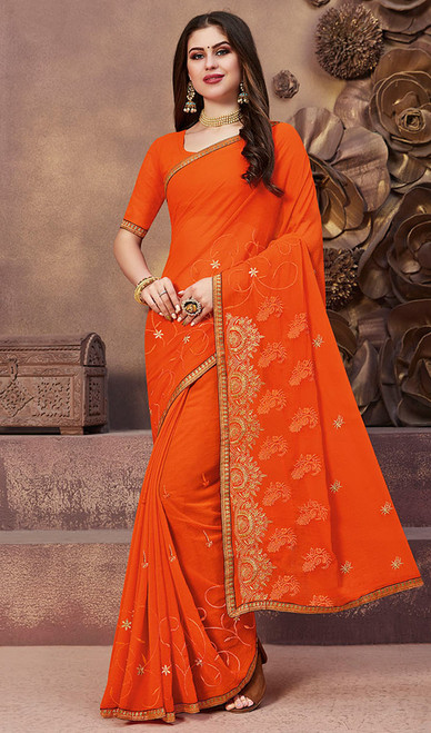 Orange Color Georgette Embroidered Sari