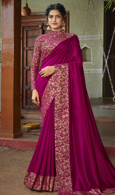 Magenta Pink Color Silk Fancy Weaving Saree