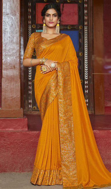 Mustard Yellow Color Silk Fancy Weaving Saree