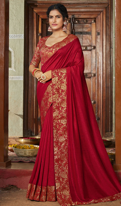 Red Color Silk Fancy Weaving Saree
