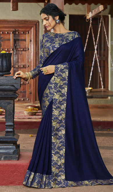 Navy Blue Color Silk Fancy Weaving Saree