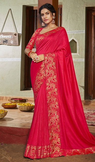 Rani Pink Color Silk Fancy Weaving Saree