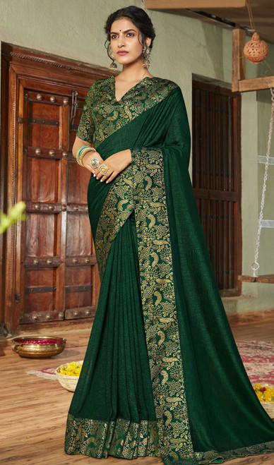 Dark Green Color Silk Fancy Weaving Saree