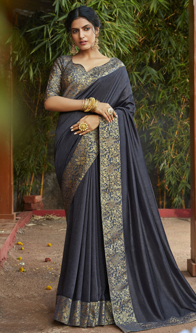 Dark Gray Color Silk Fancy Weaving Saree