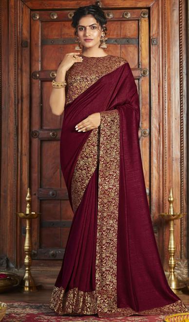 Maroon Color Silk Fancy Weaving Saree