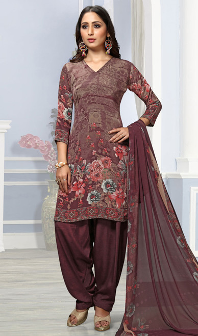 Brown Color Crepe Printed Punjabi Suit