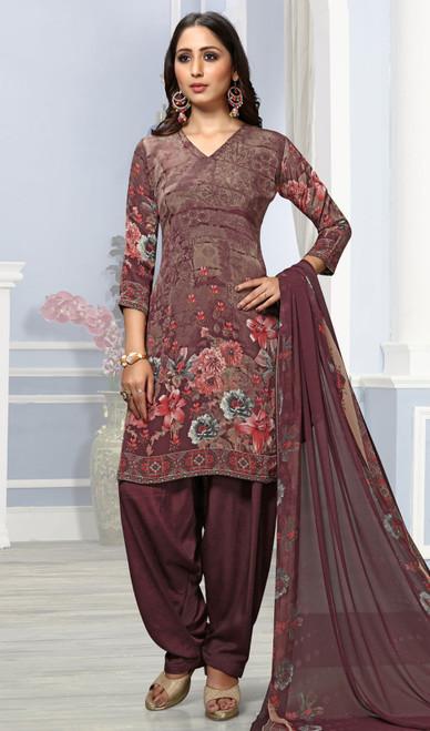 Brown Color Crepe Printed Punjabi Suit