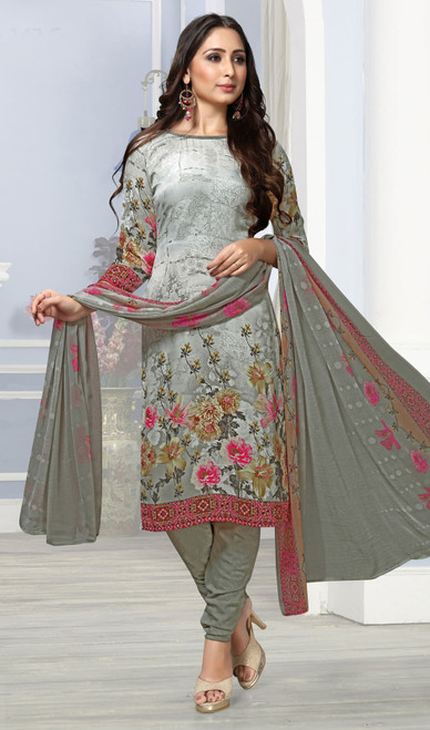Gray Color Crepe Printed Churidar Suit
