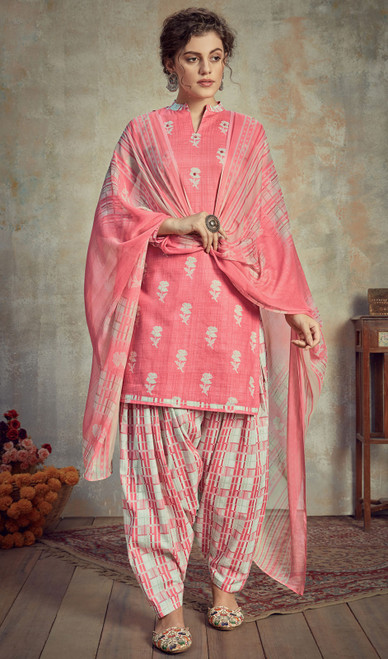 Cambric Cotton Printed Punjabi Suit in Light Pink Color