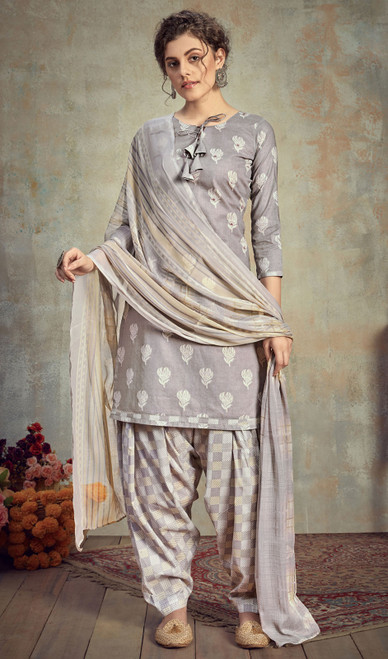 Cambric Cotton Printed Punjabi Suit in Gray Color