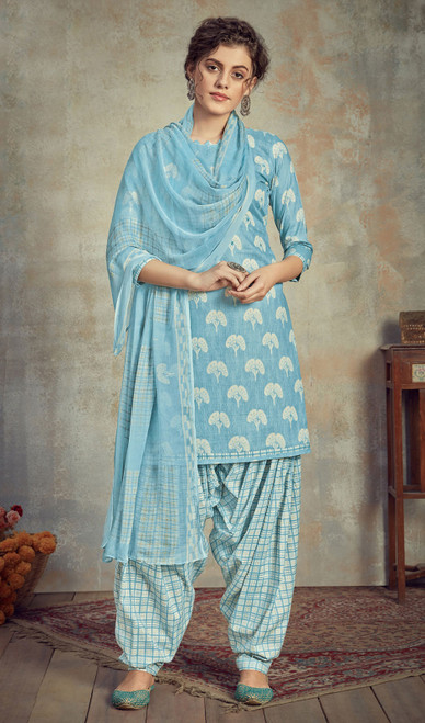 Cambric Cotton Printed Punjabi Suit in Sky Blue Color