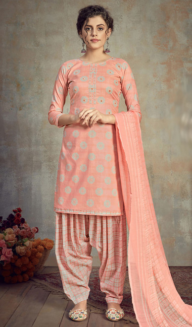 Cambric Cotton Printed Punjabi Suit in Peach Color