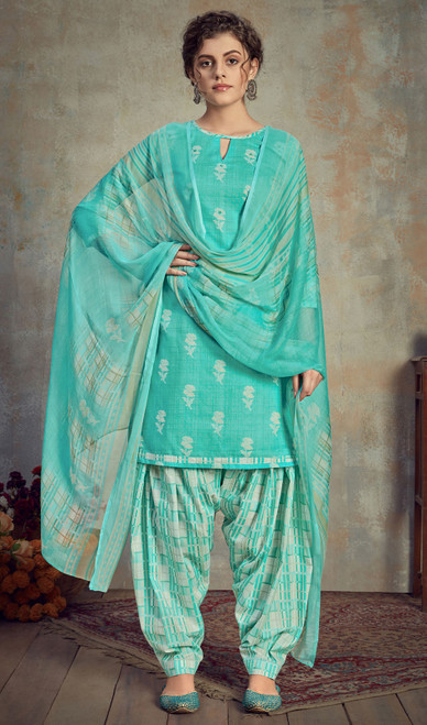 Cambric Cotton Printed Punjabi Suit in Sea Green Color