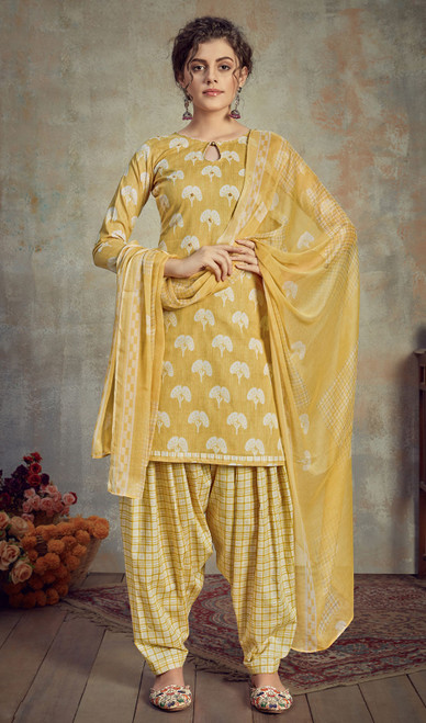 Cambric Cotton Printed Punjabi Suit in Yellow Color